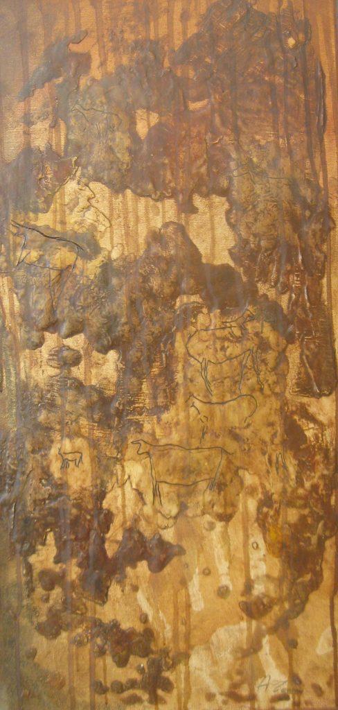 GRAFFITI GROTTE DELL'ADDAURA PRIMA FASE Olio su tela in rilievo 30 x 60 di TROIA ALESSANDRO