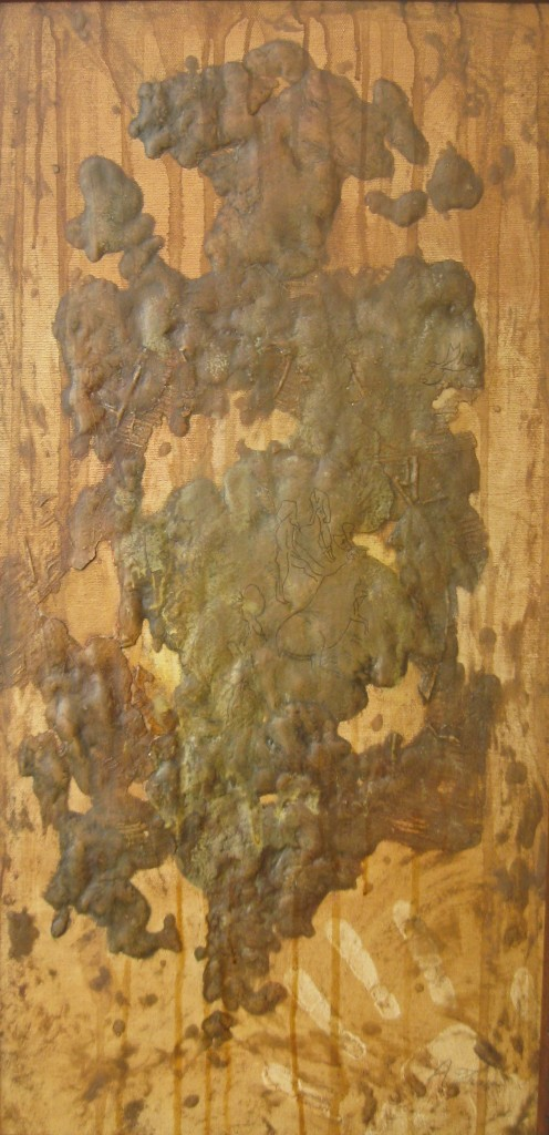 GRAFFITI GROTTE DELL'ADDAURA SECONDA FASE Olio su tela in rilievo 30 x 60 di TROIA ALESSANDRO