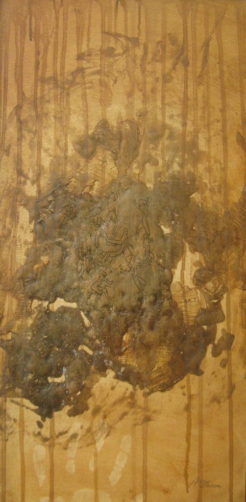 GRAFFITI GROTTE DELL'ADDAURA TERZA FASE Olio su tela in rilievo 30 x 60 di TROIA ALESSANDRO