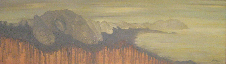 PANORAMICA GROTTE DELL'ADDAURA PALERMO Olio su tela in rilievo 100 x 30 di TROIA ALESSANDRO