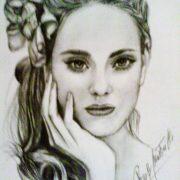"""Rosa Mastrilli """"Ritratto di donna"""" matita su carta"""