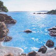 Marinella Careddu, riflessi del sole sul mare - acrilico su tela 35x45