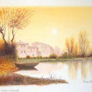 Oriano Golnelli Paesaggio autunnale. Pastello. Orig. olio di Umberto Levi.