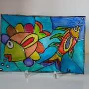 Loretta Ravazzoli PESCI     dipinto su vetro