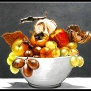 """Domenico Castellano """"Vaso con frutta"""" Dipinto ad olio su tela."""