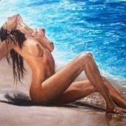 Marinella Careddu Pittrice nudo di donna in riva al mare - acrilico su tela 50 x 70
