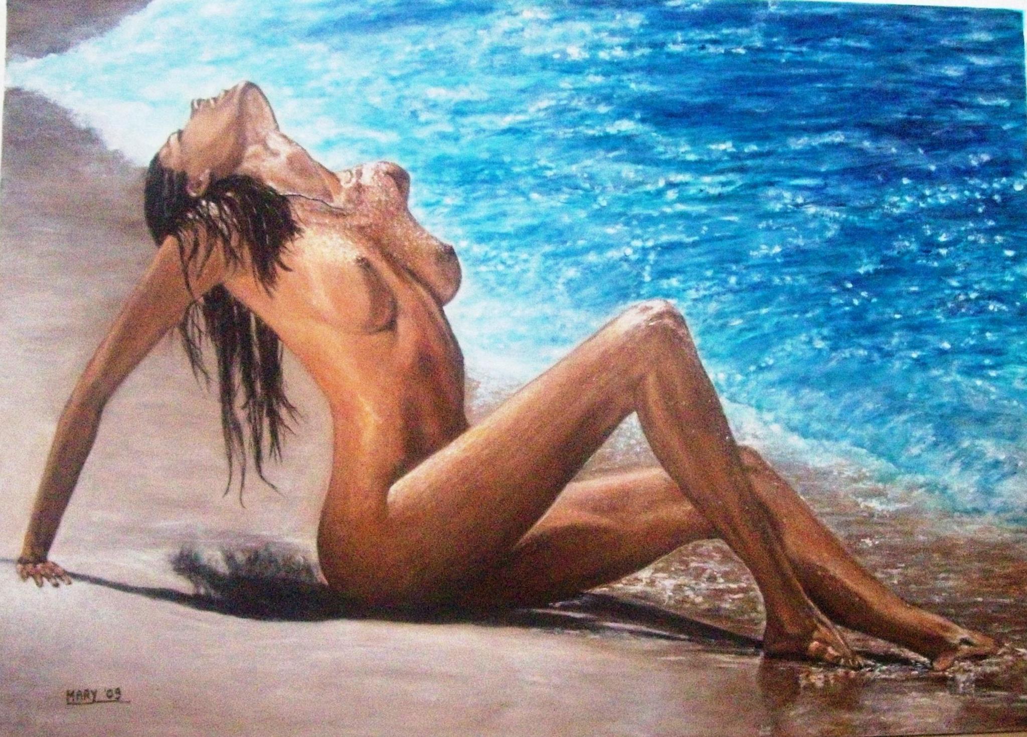 Marinella Careddu Pittrice nudo di donna in riva al mare - acrilico ...