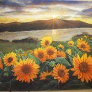 Marinella Careddu paesaggio con girasoli - acrilico su tela 50 x 70