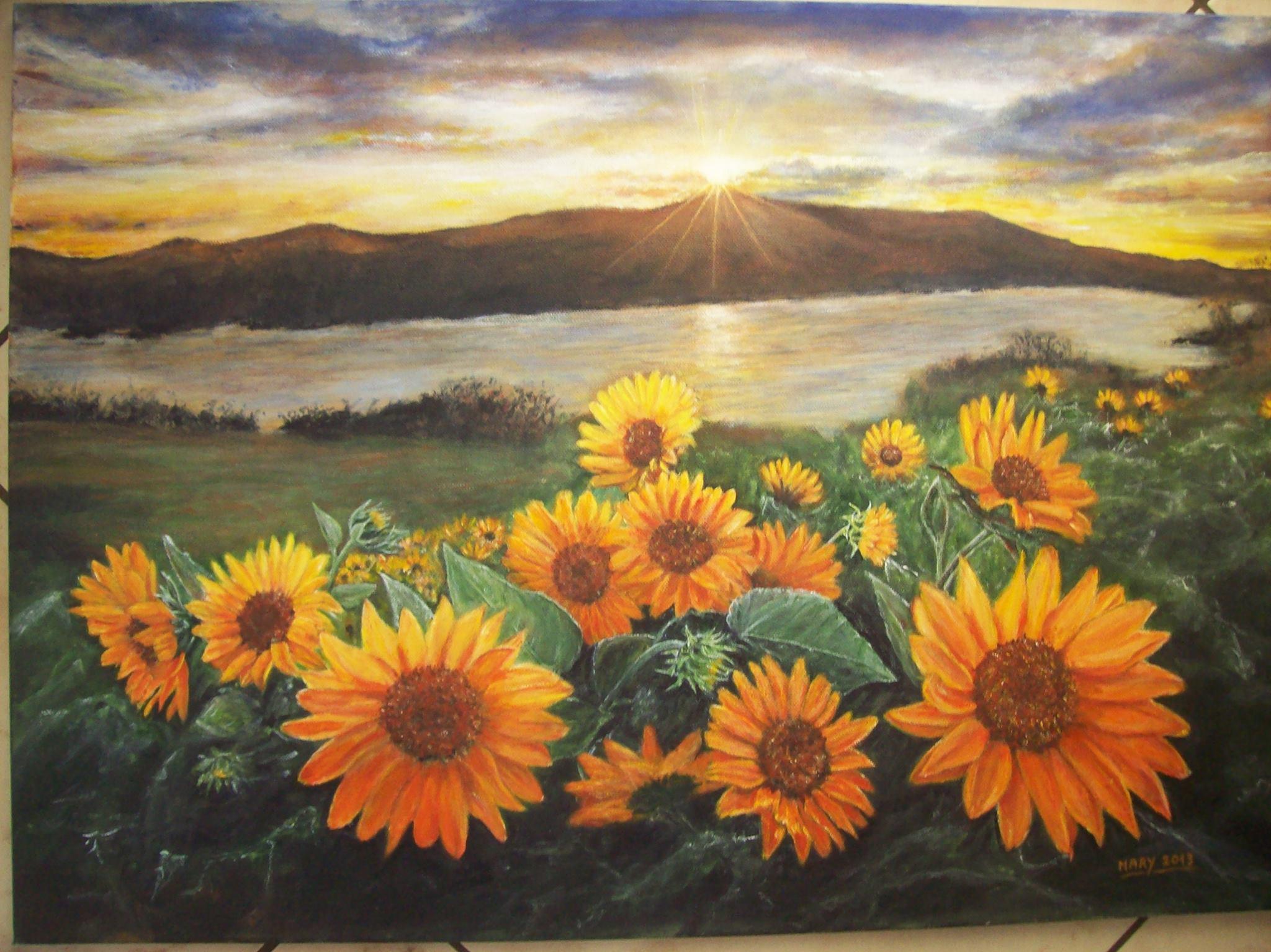 Marinella Careddu paesaggio con girasoli – acrilico su tela 50 x 70